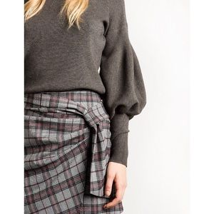 Pixie Market Skirts - Pixie Market Grey Check Wrap Mini Skirt